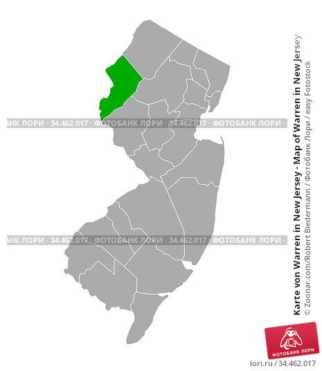 Karte von Warren in New Jersey - Map of Warren in New Jersey. Стоковое фото, фотограф Zoonar.com/Robert Biedermann / easy Fotostock / Фотобанк Лори