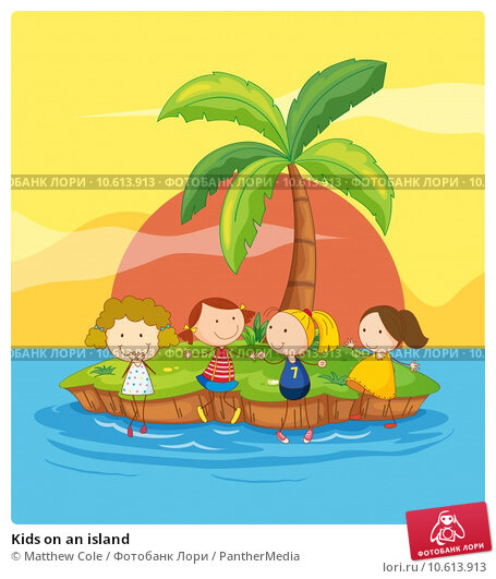 Kids on an island. Стоковая иллюстрация, иллюстратор Matthew Cole / PantherMedia / Фотобанк Лори