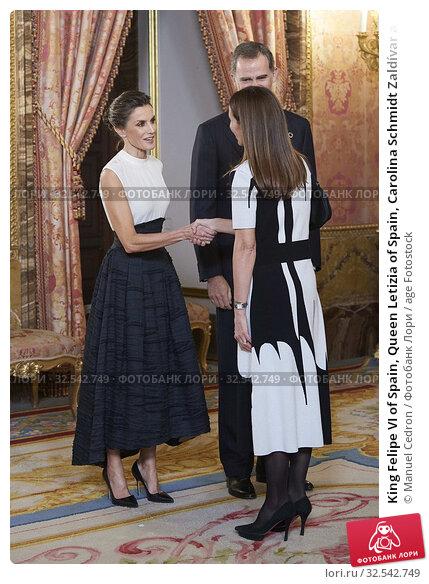 Купить «King Felipe VI of Spain, Queen Letizia of Spain, Carolina Schmidt Zaldívar attends United Nations Conference on Climate Change (COP25) reception at Royal Palace on December 2, 2019 in Madrid, Spain», фото № 32542749, снято 2 декабря 2019 г. (c) age Fotostock / Фотобанк Лори