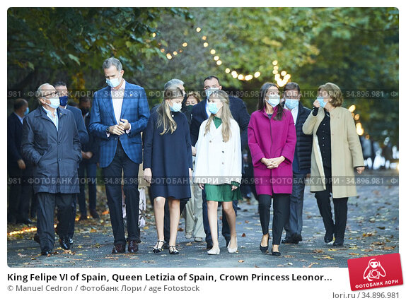 King Felipe VI of Spain, Queen Letizia of Spain, Crown Princess Leonor... Редакционное фото, фотограф Manuel Cedron / age Fotostock / Фотобанк Лори
