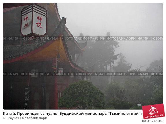 """Купить «Китай. Провинция сычуань. Буддийский монастырь """"Тысячелетний"""" на горе Эмей. Туманное утро.», фото № 66449, снято 14 апреля 2004 г. (c) GrayFox / Фотобанк Лори"""