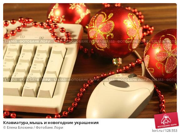 Клавиатура,мышь и новогодние украшения, фото № 128553, снято 13 ноября 2007 г. (c) Елена Блохина / Фотобанк Лори
