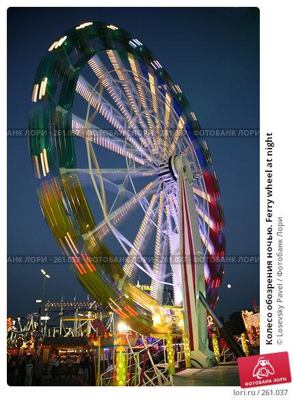 Купить «Колесо обозрения ночью. Ferry wheel at night», фото № 261037, снято 23 марта 2018 г. (c) Losevsky Pavel / Фотобанк Лори