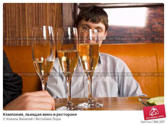 Купить «Компания, пьющая вино в ресторане», фото № 306337, снято 25 февраля 2008 г. (c) Коваль Василий / Фотобанк Лори