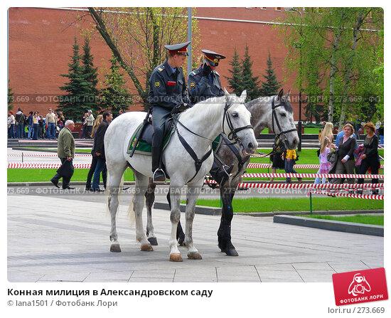Конная милиция в Александровском саду, эксклюзивное фото № 273669, снято 2 мая 2008 г. (c) lana1501 / Фотобанк Лори