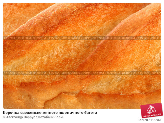 Купить «Корочка свежеиспеченного пшеничного багета», фото № 115961, снято 18 сентября 2007 г. (c) Александр Паррус / Фотобанк Лори