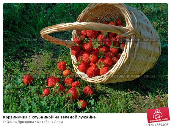 Корзиночка с клубникой на зеленой лужайке, фото № 339093, снято 14 июля 2004 г. (c) Ольга Дроздова / Фотобанк Лори
