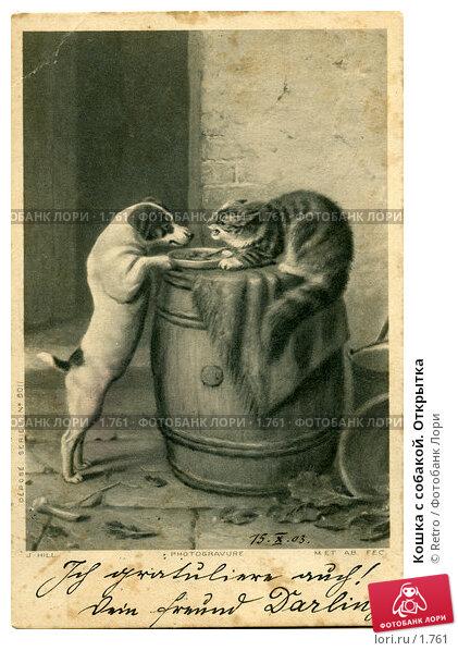 Купить «Кошка с собакой. Открытка», фото № 1761, снято 19 апреля 2018 г. (c) Retro / Фотобанк Лори