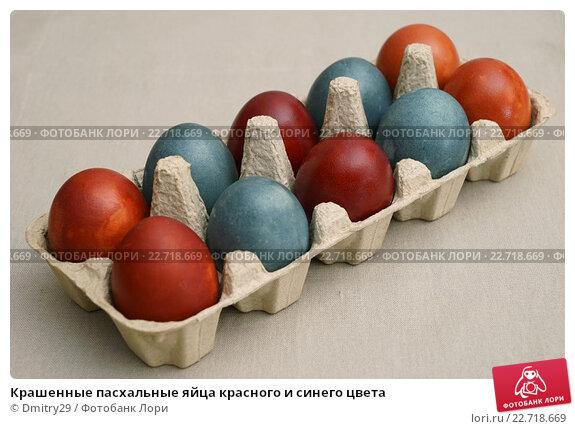 Купить «Крашенные пасхальные яйца красного и синего цвета», эксклюзивное фото № 22718669, снято 30 апреля 2016 г. (c) Dmitry29 / Фотобанк Лори