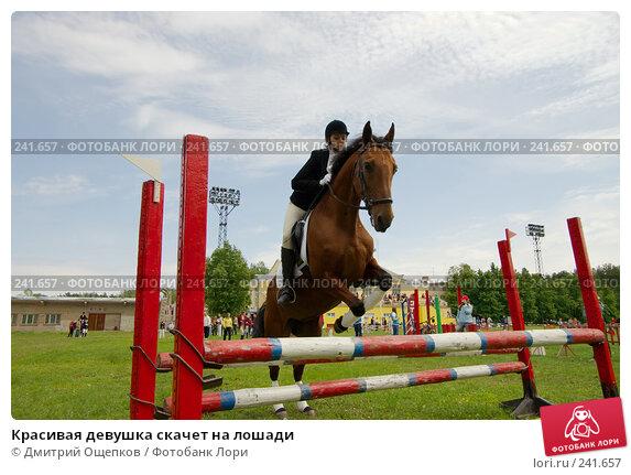 Красивая девушка скачет на лошади, фото № 241657, снято 7 декабря 2016 г. (c) Дмитрий Ощепков / Фотобанк Лори