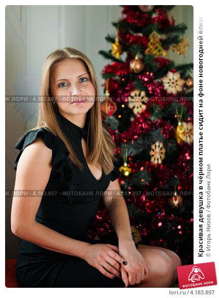 Купить «Красивая девушка в чёрном платье сидит на фоне новогодней ёлки», эксклюзивное фото № 4183897, снято 5 января 2013 г. (c) Игорь Низов / Фотобанк Лори