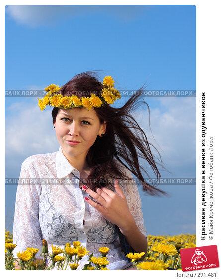 Купить «Красивая девушка в венке из одуванчиков», фото № 291481, снято 14 мая 2008 г. (c) Майя Крученкова / Фотобанк Лори