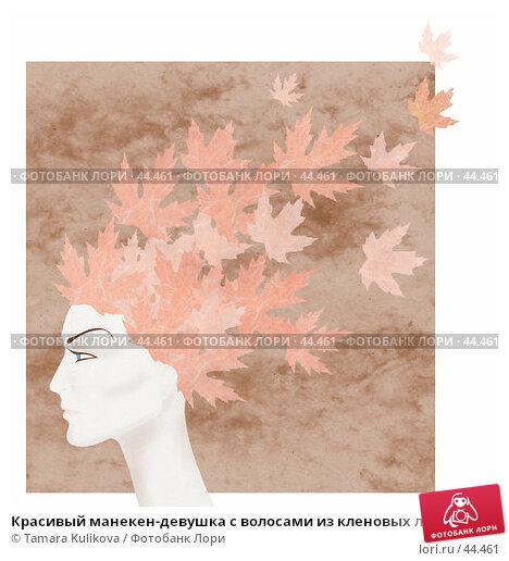 Красивый манекен-девушка с волосами из кленовых листьев, иллюстрация № 44461 (c) Tamara Kulikova / Фотобанк Лори