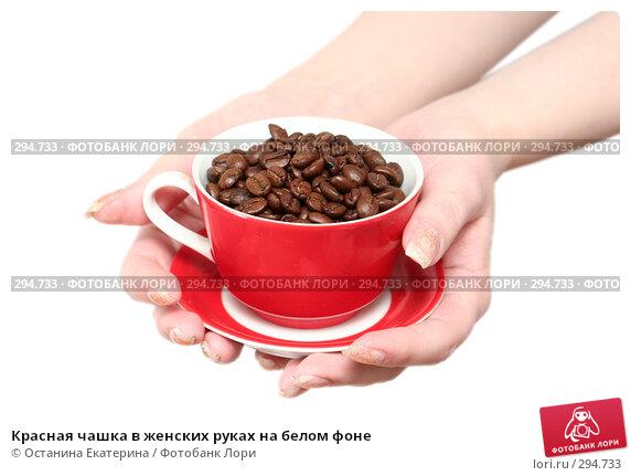 Красная чашка в женских руках на белом фоне, фото № 294733, снято 8 декабря 2007 г. (c) Останина Екатерина / Фотобанк Лори