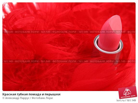Красная губная помада и перышки, фото № 161149, снято 25 июня 2007 г. (c) Александр Паррус / Фотобанк Лори