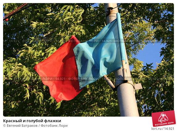 Красный и голубой флажки, фото № 14921, снято 14 сентября 2006 г. (c) Евгений Батраков / Фотобанк Лори