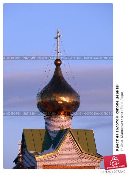 Купить «Крест на золотом куполе церкви», фото № 207349, снято 29 января 2008 г. (c) Иван Мацкевич / Фотобанк Лори