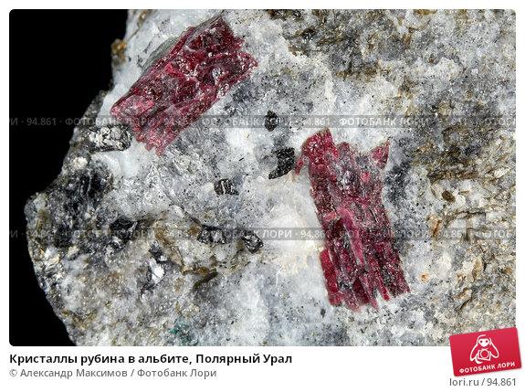 Кристаллы рубина в альбите, Полярный Урал, фото № 94861, снято 25 ноября 2006 г. (c) Александр Максимов / Фотобанк Лори