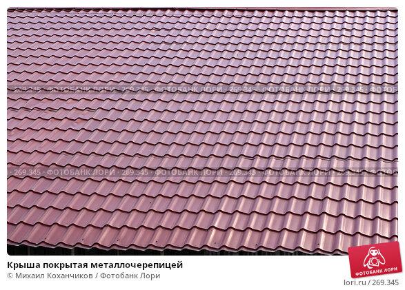 Крыша покрытая металлочерепицей, фото № 269345, снято 27 апреля 2008 г. (c) Михаил Коханчиков / Фотобанк Лори
