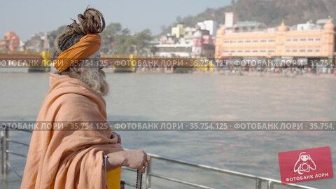 Kumbh Mela Haridwar India. Sadhu or Saint meditating at Mahakumbh . Appleprores 422 Cinetone 60fps. Редакционное видео, видеограф Devendra Rawat / Фотобанк Лори