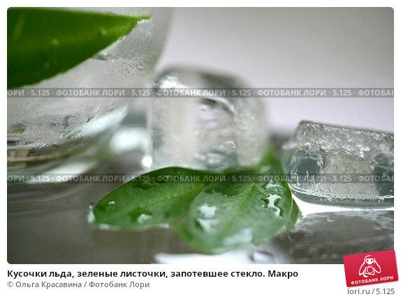 Кусочки льда, зеленые листочки, запотевшее стекло. Макро, фото № 5125, снято 13 июня 2006 г. (c) Ольга Красавина / Фотобанк Лори