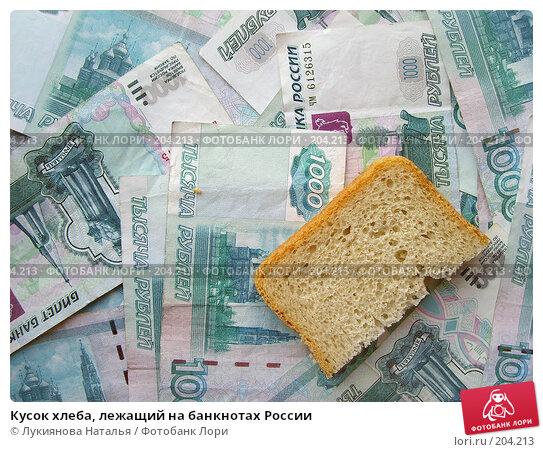 Кусок хлеба, лежащий на банкнотах России, фото № 204213, снято 17 февраля 2008 г. (c) Лукиянова Наталья / Фотобанк Лори