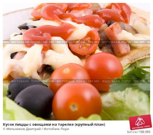 Купить «Кусок пиццы с овощами на тарелке (крупный план)», фото № 188985, снято 27 января 2008 г. (c) Мельников Дмитрий / Фотобанк Лори