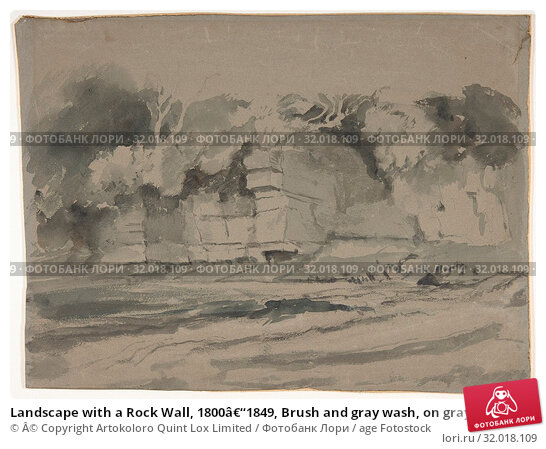 Купить «Landscape with a Rock Wall, 1800–1849, Brush and gray wash, on gray green paper, 9-13/16 x 13-1/8 in. (24.9 x 33.3 cm), Drawings, Attributed to Peter...», фото № 32018109, снято 22 мая 2017 г. (c) age Fotostock / Фотобанк Лори