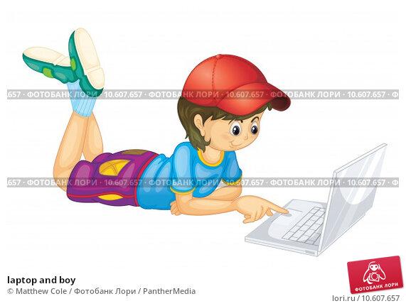 laptop and boy. Стоковая иллюстрация, иллюстратор Matthew Cole / PantherMedia / Фотобанк Лори