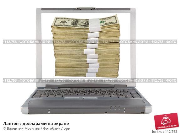 Лаптоп с долларами на экране, фото № 112753, снято 16 февраля 2007 г. (c) Валентин Мосичев / Фотобанк Лори