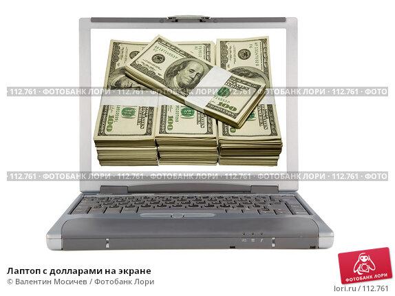 Лаптоп с долларами на экране, фото № 112761, снято 16 февраля 2007 г. (c) Валентин Мосичев / Фотобанк Лори