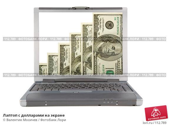 Лаптоп с долларами на экране, фото № 112789, снято 16 февраля 2007 г. (c) Валентин Мосичев / Фотобанк Лори