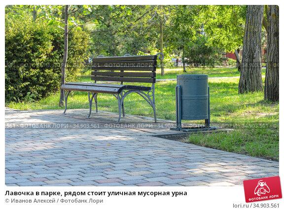 Лавочка в парке, рядом стоит уличная мусорная урна. Стоковое фото, фотограф Иванов Алексей / Фотобанк Лори