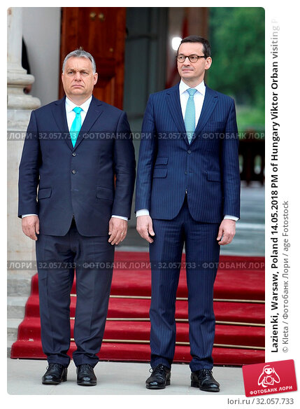Lazienki, Warsaw, Poland 14.05.2018 PM of Hungary Viktor Orban visiting Poland. Pictured: Viktor Orban and PM of Poland Mateusz Morawiecki. Редакционное фото, фотограф Kleta / age Fotostock / Фотобанк Лори