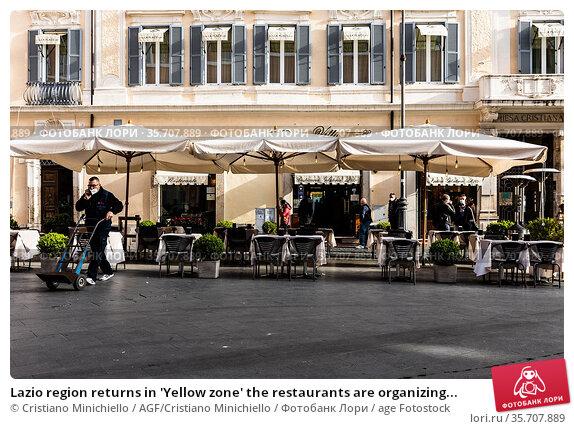 Lazio region returns in 'Yellow zone' the restaurants are organizing... Редакционное фото, фотограф Cristiano Minichiello / AGF/Cristiano Minichiello / age Fotostock / Фотобанк Лори