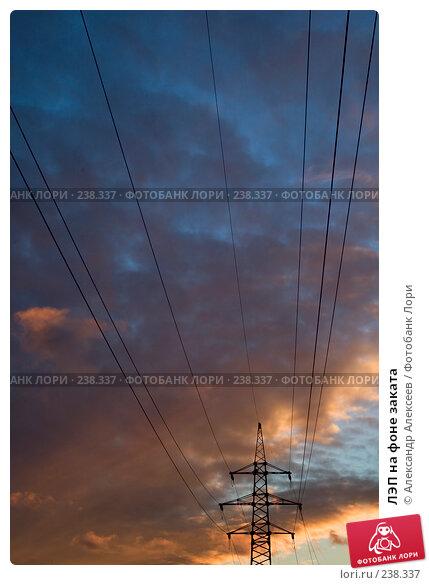 ЛЭП на фоне заката, эксклюзивное фото № 238337, снято 17 декабря 2006 г. (c) Александр Алексеев / Фотобанк Лори
