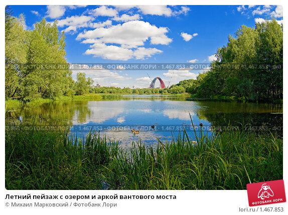 Купить «Летний пейзаж с озером и аркой вантового моста», фото № 1467853, снято 18 февраля 2019 г. (c) Михаил Марковский / Фотобанк Лори