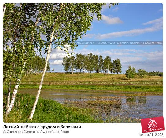 Летний  пейзаж с прудом и березами, фото № 112293, снято 21 июля 2007 г. (c) Светлана Силецкая / Фотобанк Лори