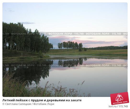 Летний пейзаж с прудом и деревьями на закате, фото № 115749, снято 21 июля 2007 г. (c) Светлана Силецкая / Фотобанк Лори