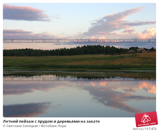 Летний пейзаж с прудом и деревьями на закате, фото № 117473, снято 21 июля 2007 г. (c) Светлана Силецкая / Фотобанк Лори