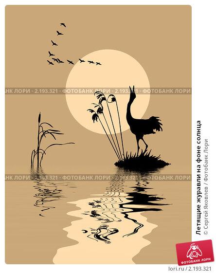 Купить «Летящие журавли на фоне солнца», иллюстрация № 2193321 (c) Сергей Яковлев / Фотобанк Лори