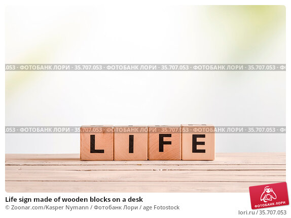 Life sign made of wooden blocks on a desk. Стоковое фото, фотограф Zoonar.com/Kasper Nymann / age Fotostock / Фотобанк Лори