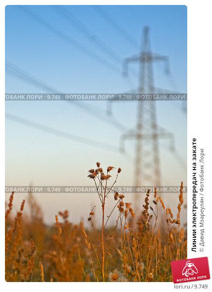 Линии электропередач на закате, фото № 9749, снято 23 сентября 2006 г. (c) Давид Мзареулян / Фотобанк Лори