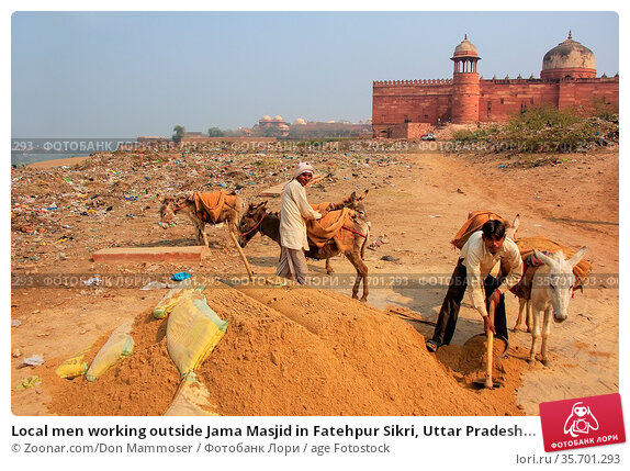Local men working outside Jama Masjid in Fatehpur Sikri, Uttar Pradesh... Стоковое фото, фотограф Zoonar.com/Don Mammoser / age Fotostock / Фотобанк Лори