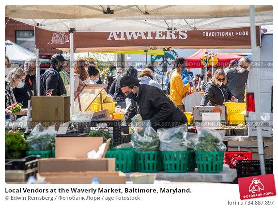 Local Vendors at the Waverly Market, Baltimore, Maryland. Редакционное фото, фотограф Edwin Remsberg / age Fotostock / Фотобанк Лори
