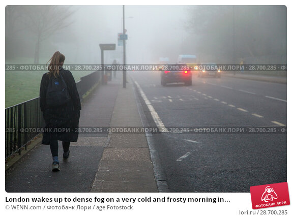 Купить «London wakes up to dense fog on a very cold and frosty morning in Finsbury Park, north London. Where: London, United Kingdom When: 28 Dec 2016 Credit: WENN.com», фото № 28700285, снято 28 декабря 2016 г. (c) age Fotostock / Фотобанк Лори