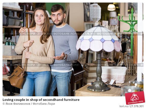Купить «Loving couple in shop of secondhand furniture», фото № 27378301, снято 9 ноября 2017 г. (c) Яков Филимонов / Фотобанк Лори