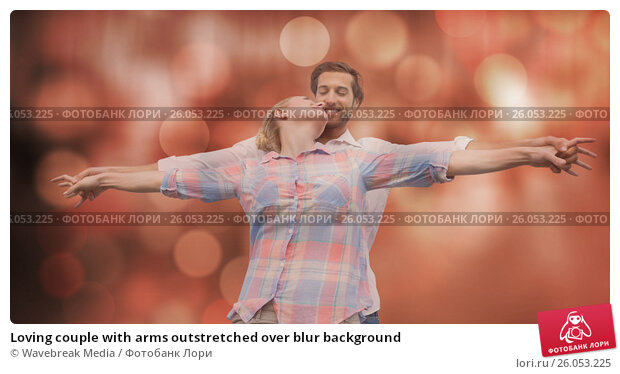 Купить «Loving couple with arms outstretched over blur background», фото № 26053225, снято 26 марта 2019 г. (c) Wavebreak Media / Фотобанк Лори