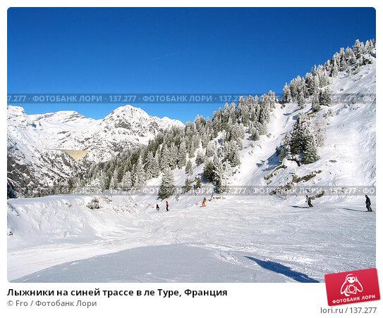 Лыжники на синей трассе в ле Туре, Франция, фото № 137277, снято 23 января 2017 г. (c) Fro / Фотобанк Лори