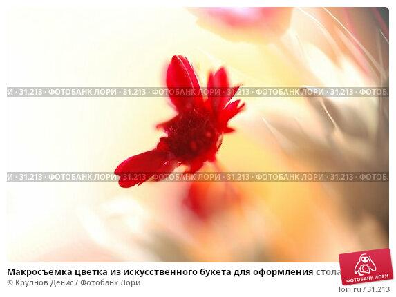 Купить «Макросъемка цветка из искусственного букета для оформления стола в ресторане», фото № 31213, снято 20 декабря 2007 г. (c) Крупнов Денис / Фотобанк Лори